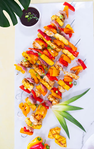 VegOut0820 Mini Sweet Pepper Grilled Hawaiian Kabobs
